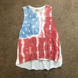 American flag loose muscle tank